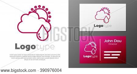 Logotype Line Cloud With Rain And Sun Icon Isolated On White Background. Rain Cloud Precipitation Wi