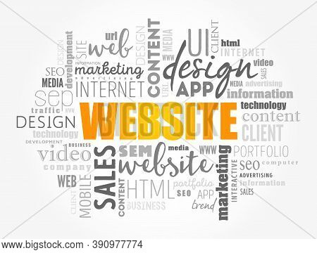Website Word Cloud Collage, Business Concept Background