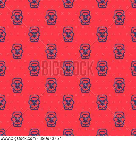 Blue Line Portrait Of Joseph Stalin Icon Isolated Seamless Pattern On Red Background. Vector