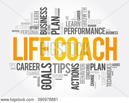 Life Coach Word Cloud Collage, Education Concept Background