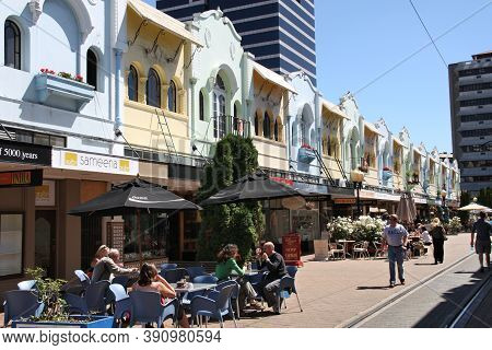 Christchurch, New Zealand - February 17, 2009: People Visit New Regent Street In Christchurch, New Z