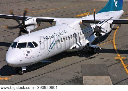 Christchurch, New Zealand - March 18, 2009: Air New Zealand Atr 72 At Christchurch Airport, New Zeal