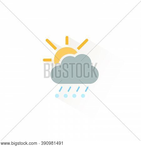 Hail And Rain, Cloud And Sun. Isolated Color Icon. Weather Glyph Vector Illustration