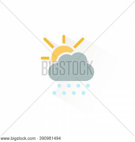 Hail, Cloud And Sun. Isolated Color Icon. Weather Glyph Vector Illustration