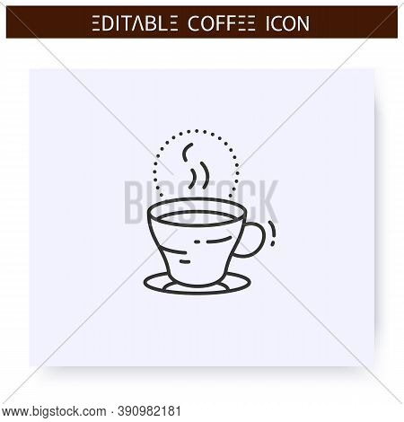 Espresso Line Icon. Type Of Coffee Drink. Brewed Coffee With Small Amount Of Hot Water. Coffeehouse