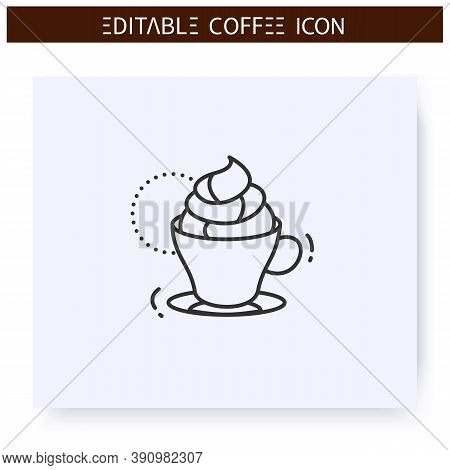 Kon Panna Coffee Line Icon.type Of Coffee Drink. Double Espresso Topped With Whipped Cream. Coffeeho