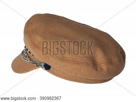 Fashion Brown Hat With Visor Isolated On White Background.cap Female. Colored Hat .