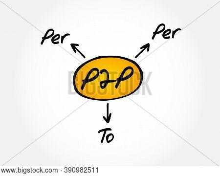P2p - Per To Per Acronym, Technology Concept Background