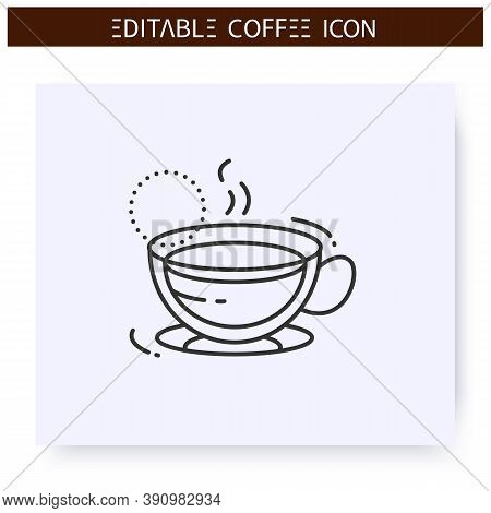 Americano Coffee Line Icon. Type Of Coffee Drink. Diluting Espresso With Hot Water. Coffeehouse Menu