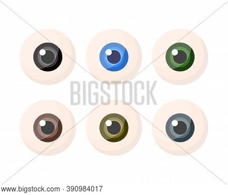 Set Of Eyeballs With Iris Different Colors Isolated On White Background. Multicolored Eye Balls. Vec
