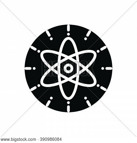 Black Solid Icon For Nuclear Molecular Particle Orbit React Chemistry Circle Fusion Atom Atomic