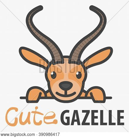 Logo Template With Cute Curious Gazelle. Vector Logo Design Savanna Animal Template For Zoo, Veterin