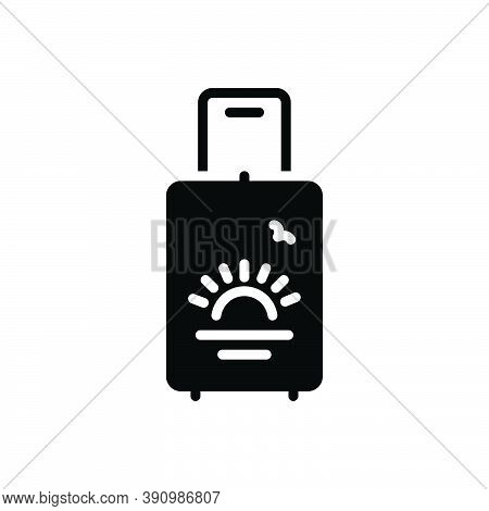 Black Solid Icon For Holiday Vacation Leave Leisure Leisure-time Travel Tourism