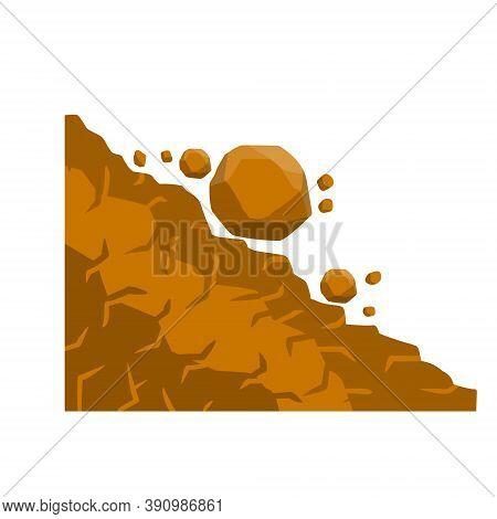 Rock Rolls Off A Cliff. Falling Boulder. Rockfall And Landslide.