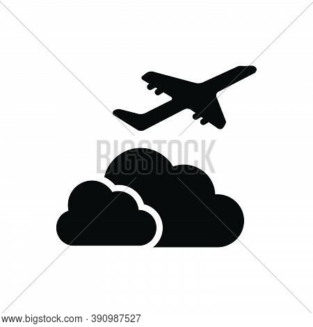 Black Solid Icon For Beyond Over Above Holiday Away-from On-the-far-side-of Aeroplane Airliner Cloud