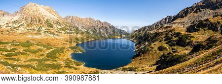 High Resolution Panorama Of Five Polish Ponds Valley (dolina Pieciu Stawow Polskich) In Autumn. Crys