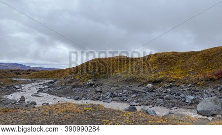 Picturesque Hills, Plains And Mountains. Autumn Landscapes Of Central Kamchatka. Amazing Nature Of K