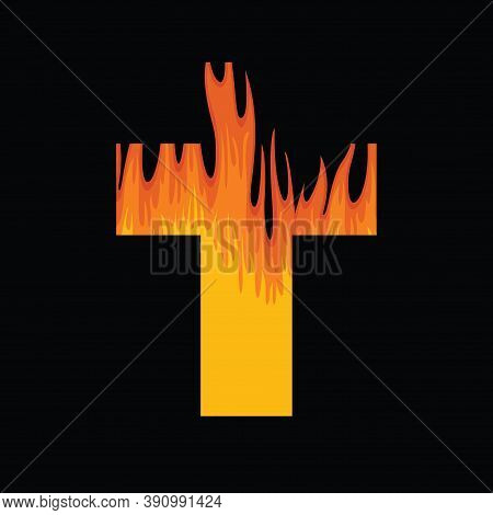 Sign Of The Christian Cross With A Flame Inside On Black Background. Hellfire. Religious Vector Illu
