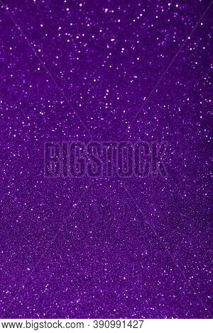 Abstract Violet Purple Blured Sparkling Background With Focused Area. Holiday Festive Concept. Glitt