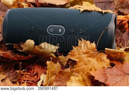Usinsk,russia-13.10.2020: The Jbl Charge 4 Column Lies On Dry, Yellow Autumn Maple Leaves. Portable