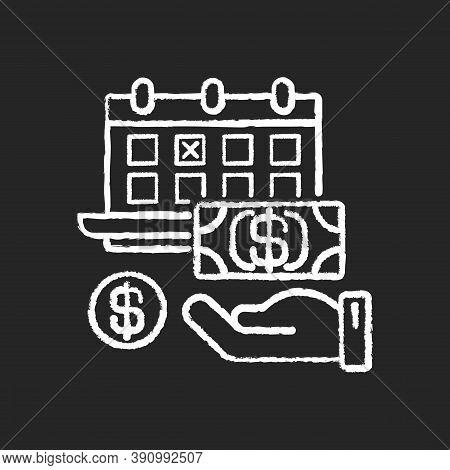 Monthly Payment Chalk White Icon On Black Background. Financial Investment. Time On Calendar For Pay