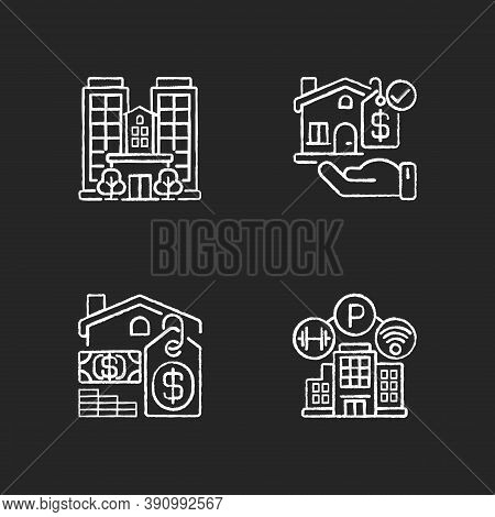 Business Property Chalk White Icons Set On Black Background. Real Estate. Realty For Sale. Skyscrape