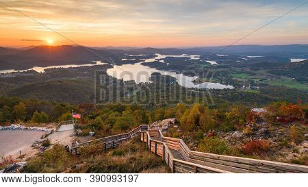 Hiawassee, Georgia, USA landscape with Chatuge Lake in early autumn at dusk.