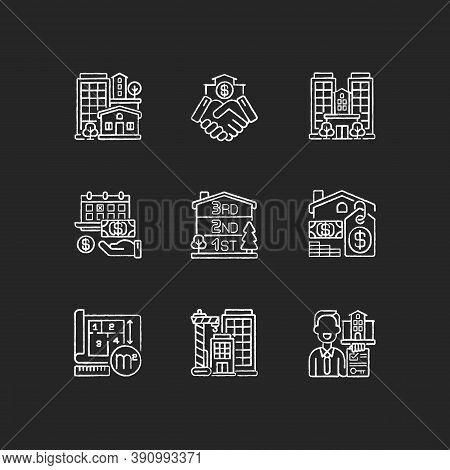 Realty Chalk White Icons Set On Black Background. Property Types. Business Deal. House Mortgage. Hom