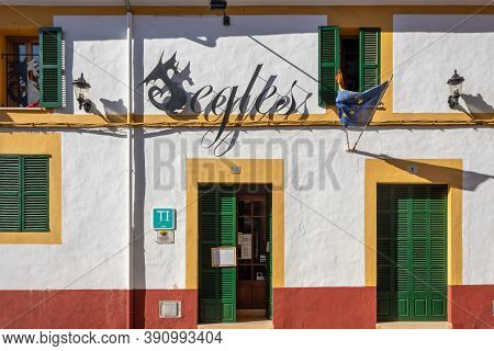 Campos, Balearic Islands/spain; October 2020: Facade Of The Segles Hotel, Located In The Historic Ce