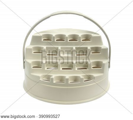 Blank Gift Basket For Chicken Essence Bottle (with Clipping Path) Isolated On White Background