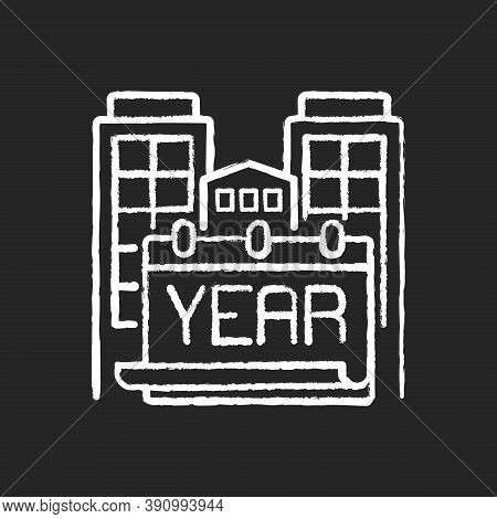 Year Built Chalk White Icon On Black Background. Engineering Plan For Structure. Building Time Of Ho