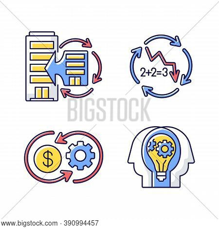Business Synergy Rgb Color Icons Set. Corporate Expansion. Company Merge. Decline In Numbers. Decrea