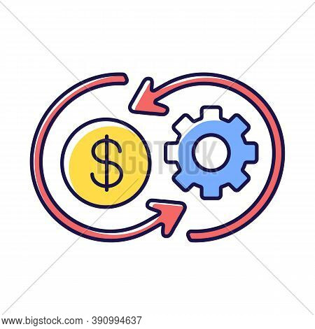 Cost Synergy Rgb Color Icon. Business Financial Operation. Enterprise Profit. Work Value. Plan Marke