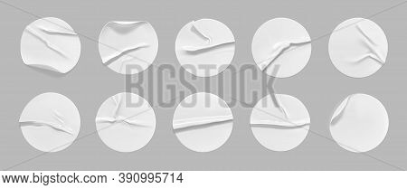 White Round Crumpled Sticker Mock Up Set. Adhesive White Paper Or Plastic Sticker Label With Glued,