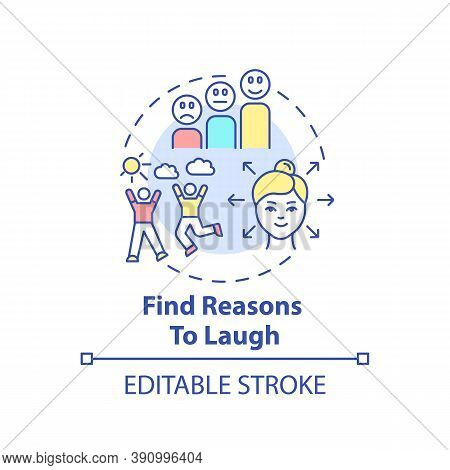 Find Reasons To Laugh Concept Icon. Self Care Checklist. Jokes Telling. Happy Lifestyle. Funny Stori