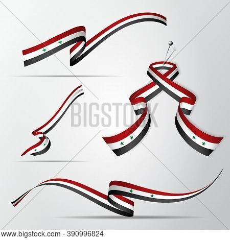 Flag Of Syria. 17th Of April. Set Of Realistic Wavy Ribbons In Colors Of Syrian Flag. Independence D