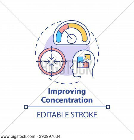 Improving Concentration Concept Icon. Me Time Benefits. Train Your Brain. Focusing On Something Idea