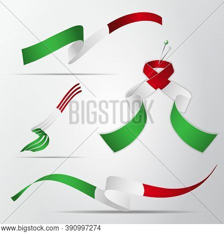 Flag Of Italy. 17th Of March. Set Of Realistic Wavy Ribbons In Colors Of Italian Flag. Independence