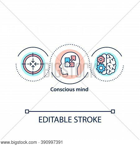 Conscious Mind Concept Icon. Self Care. Mental Health. Spirituality. Love Yourself. Mental Processin