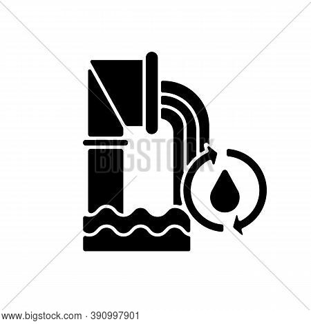 Water And Wastewater Black Glyph Icon. Protecting Public Health. Sewer System. Ecosystem. Water Qual