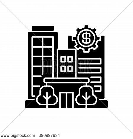 Banks And Financial Institutions Black Glyph Icon. Business Operations. Banking Institutions. Invest