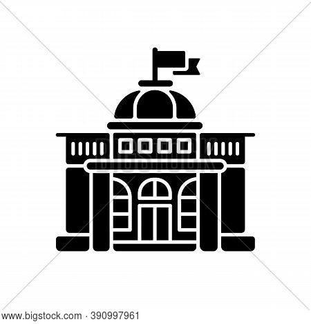 Government Black Glyph Icon. Authorities. Political Power. Legislature, Executive And Judiciary. Gov