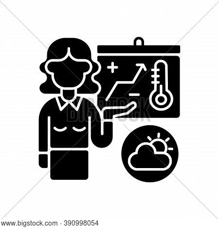 Weather Forecasters Black Glyph Icon. Meteorologist. Atmosphere Conditions. Barometric Pressure. Tem