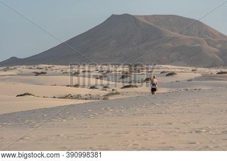 Corralejo, Fuerteventura, Spain: 2020 September 30: People In The Dunes At The Parque Natual Dunas D