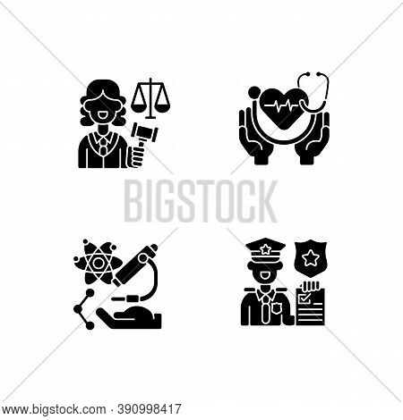Critical Services Black Glyph Icons Set On White Space. Justice Sector. Health Care. Human Services.