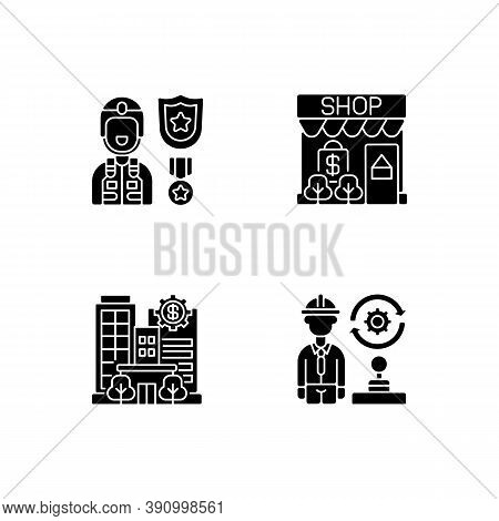 Vital Services Black Glyph Icons Set On White Space. Defence Industry. Small Business. Banks And Fin