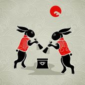 Japanese moon rabbits making mochi (rice cakes) by mortal and pestle poster