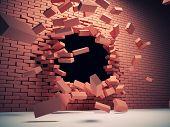 Destruction of brick wall poster