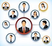 Presentation of a network structure with avatars of business people poster