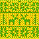 Green and yellow sweater with deer vector seamless pattern poster